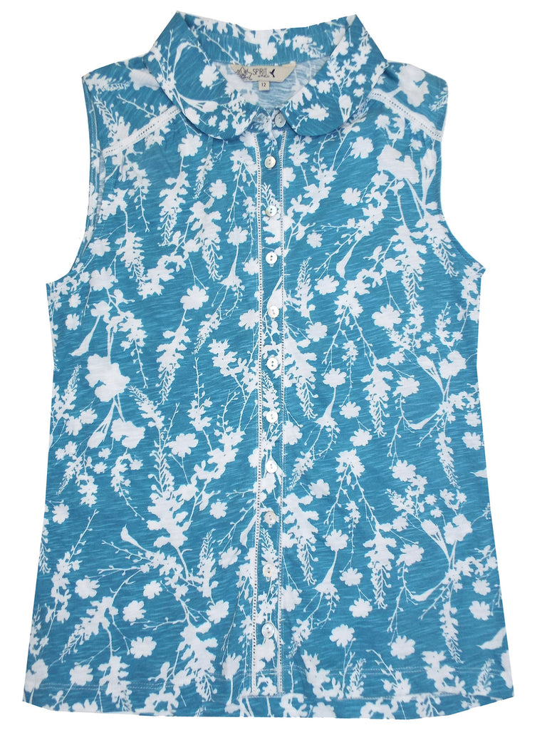 Blue Floral Print Sleeveless Shirt (Flat)