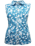 Blue Floral Print Sleeveless Shirt (Front)