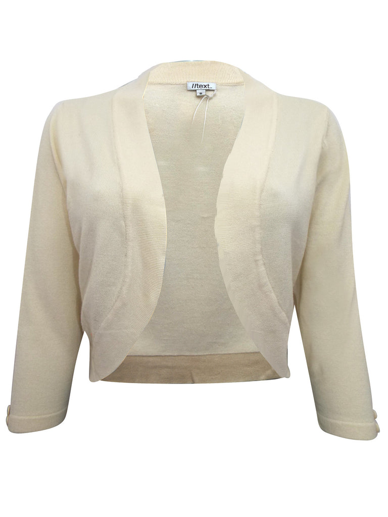 Women's fashion cover-up, open fronted with button detail - front