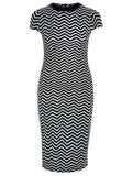 Women's Fashion Chevron Print Bodycon Midi Dress (Front)