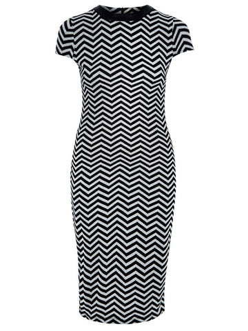Suedette Taupe Chevron Day Dress