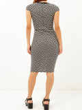 Ladies Fashion Chevron Print Bodycon Midi Dress (Rear Modeled)
