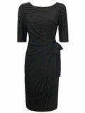 Womens Fashion Day Dress With Tie Side Detail & Textured Fabric - Front
