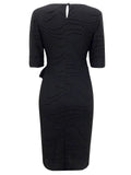 Women's Fashion Day Dress in Black with Side Tie Detail - Rear