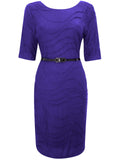 Women's Fashion Purple Day Dress With Black Patent Belt - Front