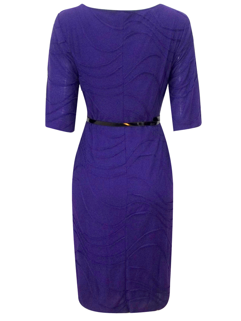 Women's Fashion Purple Day Dress With Black Patent Belt - Rear
