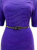 Women's Fashion Purple Day Dress With 3/4 Length Sleeves - Front Close Up