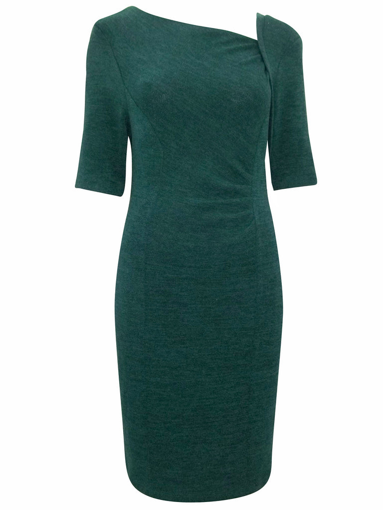 Women's Fashion Day Dress with Asymmetric Neck & Ruched Detail At The Back - Front