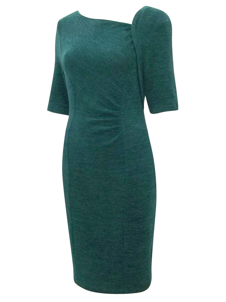 Women's Pencil Dress with Asymmetric Neckline & 3/4 Length Sleeves - Front