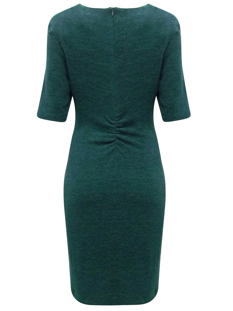 Women's Pencil Dress with Gathered Pleat To The Side & Ruching Detail To The Back - Rear