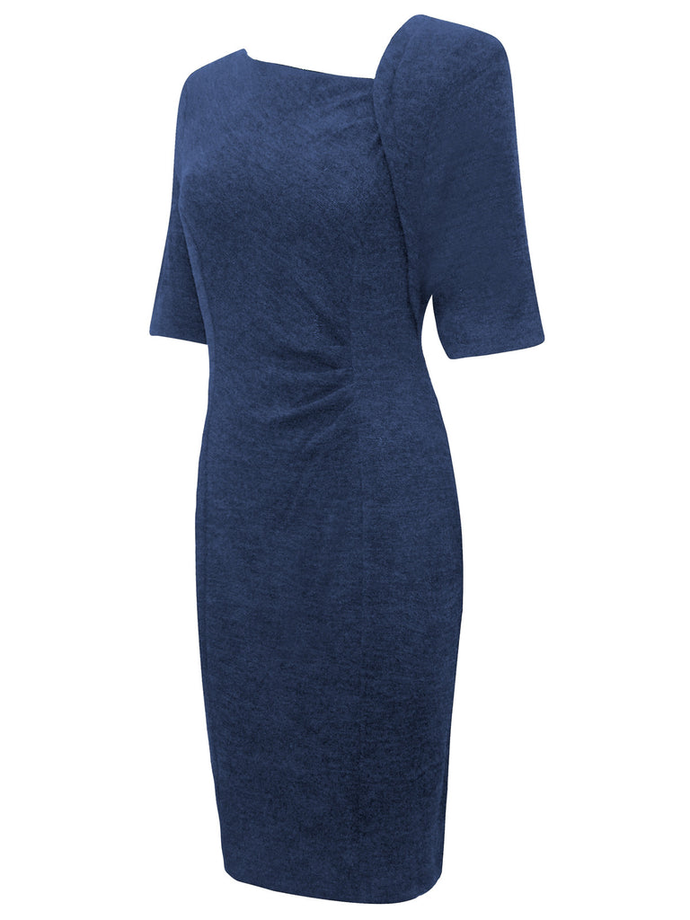 Ladies Stylish Pencil Dress With Asymmetric Neckline & Gathered Pleat To The Side - Front