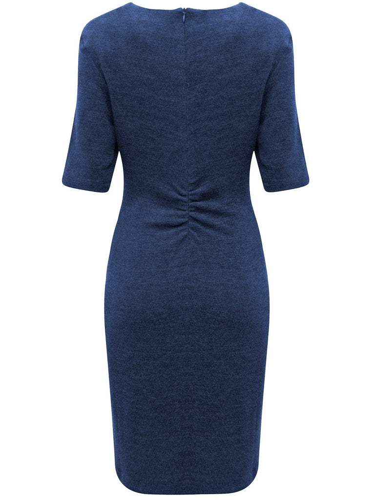 Ladies Stylish Pencil Dress With Ruching Detail To The Back - Rear