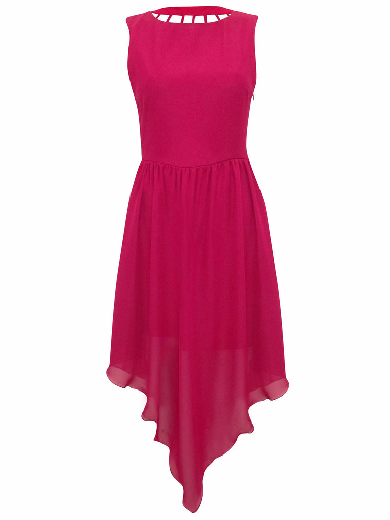 Women's fashion cocktail dress in a pink, knee length - Front