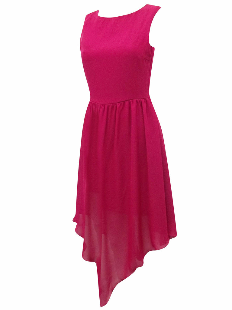 Women's Cocktail Dress With Asymmetric Dip Hem In Chiffon Fabric - Side