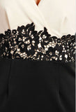 Women's Fashion Bodycon Party Dress - Crochet Lace Detail - Front Close Up