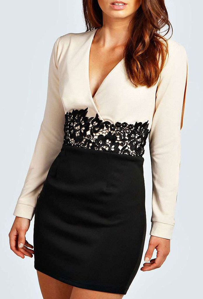 Women's Fashion Bodycon Party Dress, Colour Block in White/Camel With Crochet Lace Detail - Front