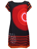 Women's Fashion Disigual Tunic Dress With Eye Catching Print Detail - Front