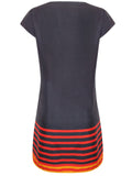 Ladies Fashion Tunic Dress in Black, Red & Orange With Short Sleeves - Rear