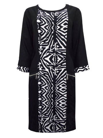 Shift Dress - Ruched style with diamond print on navy blue.