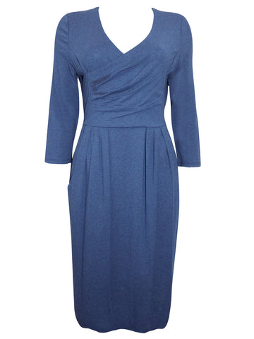 Blue Long Sleeve V-Back Exposed Zip Midi Dress