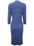 Ladies Fashion Jersey Wrap Pleated Dress With 3/4 Length Sleeves - Rear