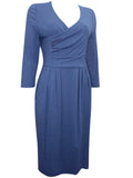 Women's Fashion Jersey Wrap Dress With Soft Pleat Detail & Twin Side Pockets - Front