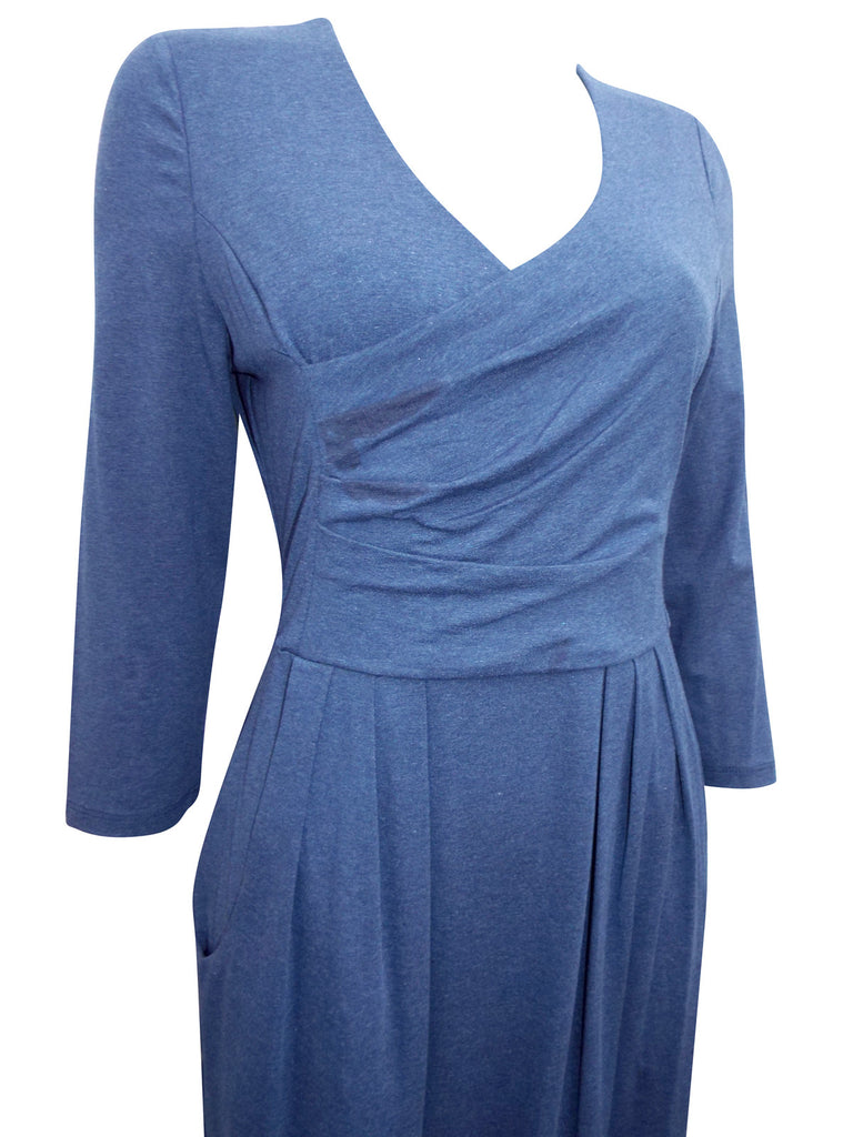 Ladies Fashion Jersey Wrap Pleated Dress in Denim Blue - Close Up
