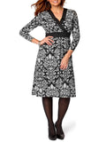 Women's Day Dress, perfect officewear in monochrome damask print - front