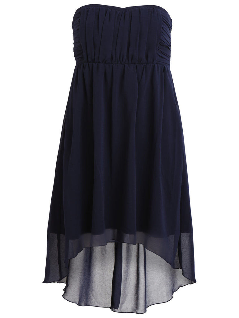 Women's fashion prom dress in navy chiffon - front