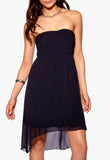 Women's strapless party dress with dipped hem - front