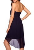 Women's dress perfect for cruise or resort wear, navy chiffon - side