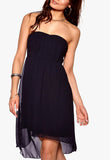 Women's fashion bridesmaids dress with adjustable skinny straps included - front