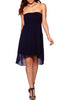 Women's fashion cocktail dress in navy chiffon - front