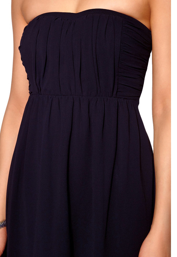 Women's fashion strapless dress with skinny adjustable straps included - front