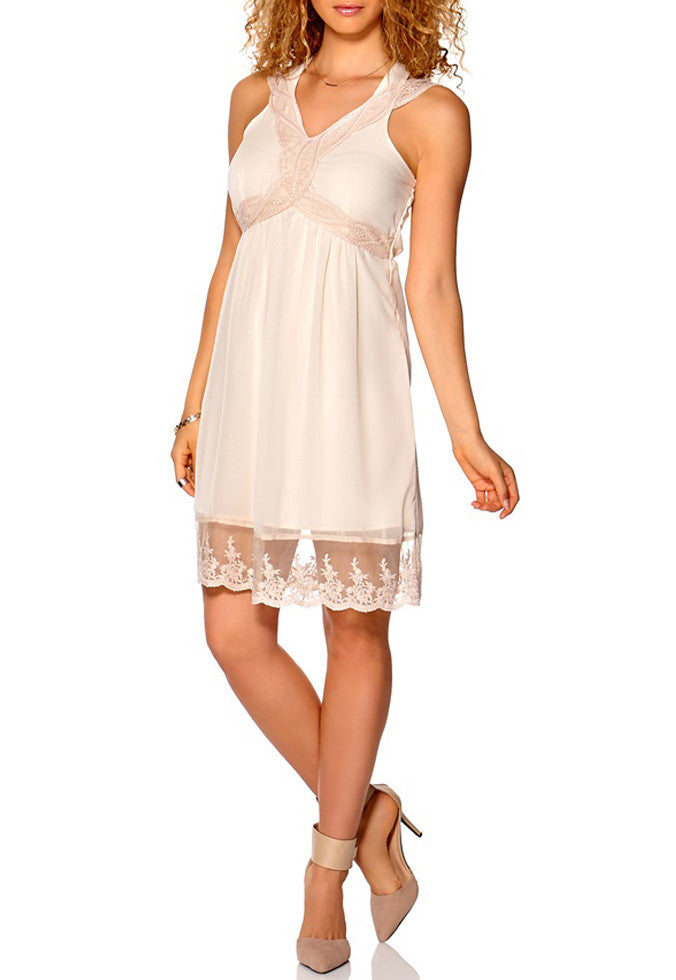 Women's fashion summer dress by Vila, semi sheer with lace ribbon in nude/pink - front