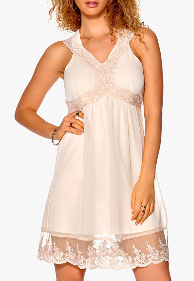 Women's fashion party dress, v-neckline with straps & lace frill to hem - front