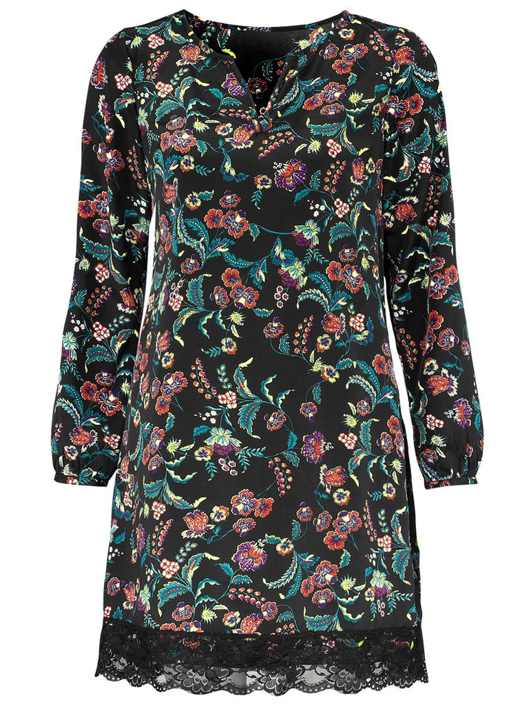 Women's Fashion Floral Printed Day Dress With Long Sleeves - Front