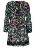 Women's Fashion Floral Print Tunic With Lace Trim & Long Sleeves - Front