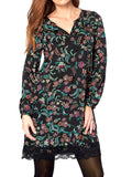 Ladies Fashion Floral Print Dress With Notch Neckline - Front Close Up