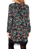 Women's Fashion Tunic With Full Length Sleeves & Button Cuffs - Rear