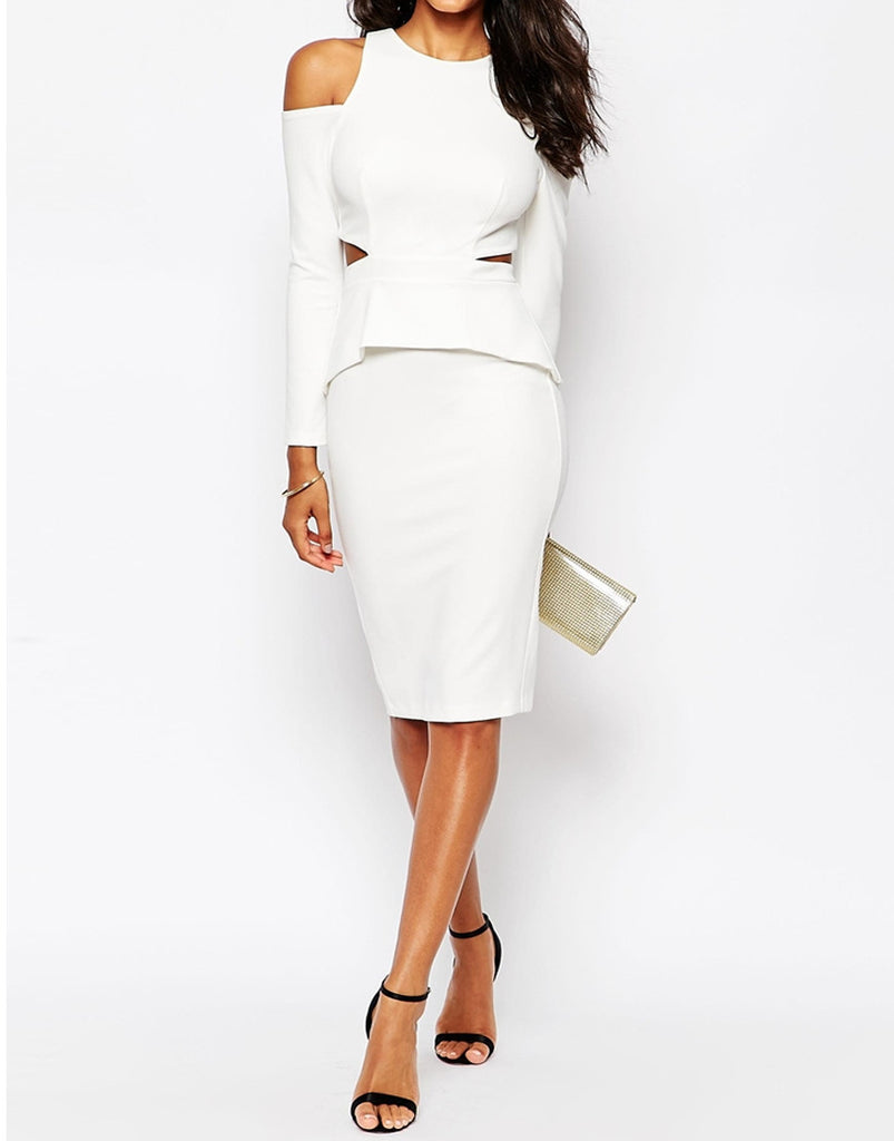 Women's fashion bodycon dress in white with high neckline - front