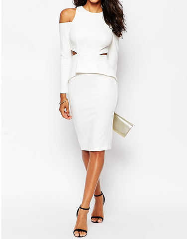 Backless Long Sleeve White Dress