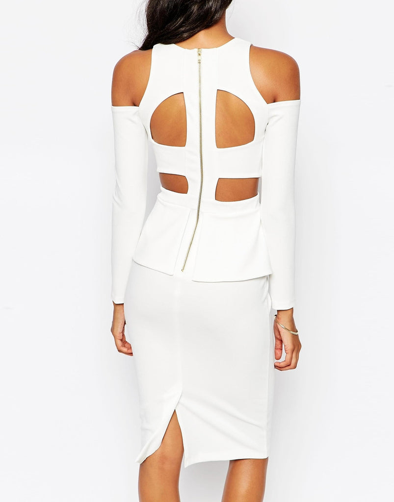 Women's party dress with long sleeves and caged back design with exposed zip - back