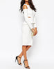 Women's summer dress with long sleeves & cut-off shoulder detail - side