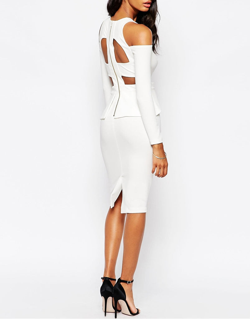 Women's bodycon dress in white, plus size available - Side