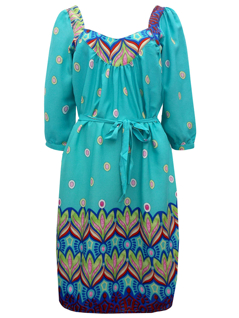 Women's Fashion Seventies Style Border Printed Dress With Belted Waistline & Long Sleeves - Front