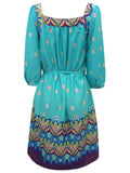 Ladies Fashion Printed Dress/Tunic With Belted Waist & Sweetheart Neckline - Rear