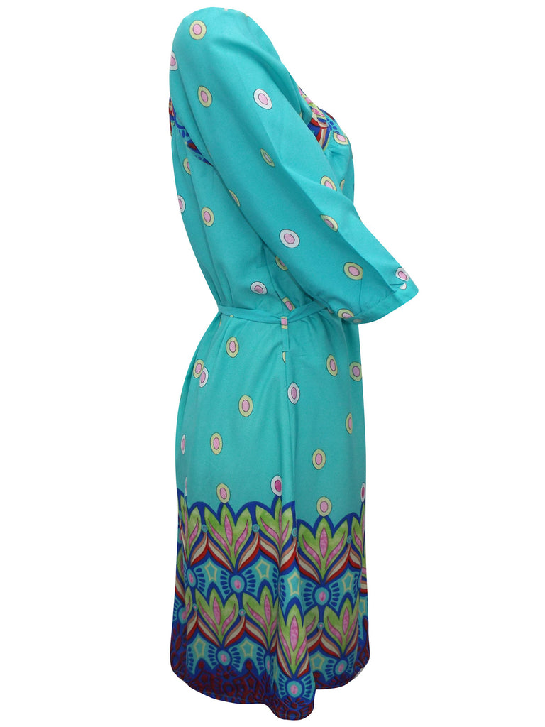 Women's Fashion Turquoise Day Dress/Tunic With Long Sleeves - Side