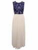 Women's long formal gown with round neckline and back zip fastening - front