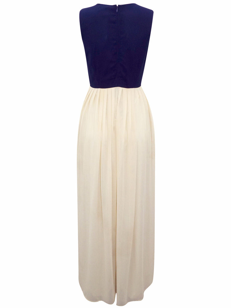 Women's fashion bridesmaid dress with contrast navy bodice & long chiffon skirt - back